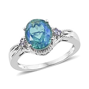 925 Sterling Silver Platinum Plated Peacock Quartz Tanzanite Fashion Ring for Women Size 8 Cttw 3.7
