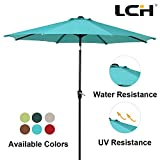 LCH 9 Ft Patio Umbrella Outdoor Sun Shelter Aluminum 8 Ribs Parasol Table Market Hanging Umbrella Tilt Push Button- Easy Crank Open with Sturdy Pole for Backyard Garden and Pool, Turquoise