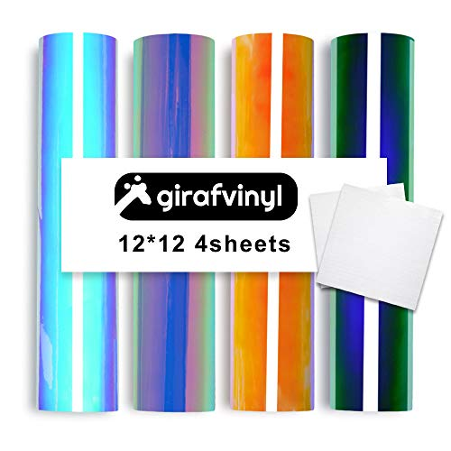 Color 4 Transfer - Girafvinyl Holographic Opal Vinyl Sheets 4 Sheets 4 Colors Select Pack Self Adhesive Vinyl Sheets Bonus 2 Standard Grip Transfer Paper for Craft Cutters DIY Project- Per sheet/12x12 inch