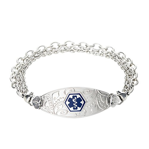 Divoti Custom Engraved Medical Alert Bracelets for Women, Stainless Steel Medical Bracelet, Medical ID Bracelet w/Free Engraving - Lovely Filigree Tag w/Tri-Strand-Deep Blue-7.5