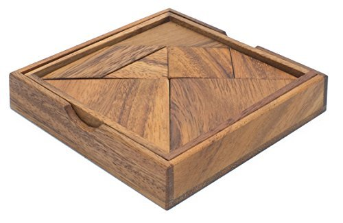 Tangram: A Classic Chinese Handmade Wooden Puzzle for Adults from SiamMandalay with SM Gift Box(Pictured)