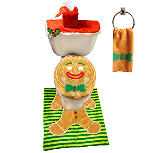 JOYIN 5 Pieces Christmas Gingerbread Man Theme Bathroom Decoration Set w/Toilet Seat Cover, Rugs, Tank Cover, Toilet Paper Box Cover and Santa Towel for Xmas Indoor Décor, Party Favors (Gingerbread Decorations Man Christmas)