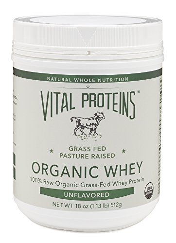 Vital Proteins Grass-Fed, Pasture-Raised Organic Whey Protein, 18 oz Canister