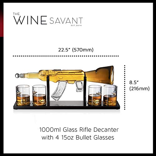 Gun Large Decanter Set Bullet Glasses - Elegant Rifle Gun Whiskey Decanter 22.5'' 1000ml With 4 Bullet Whiskey Glasses and Mohogany Wooden Base By The Wine Savant by The Wine Savant (Image #8)