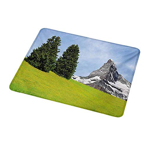 Art Mousepad Mountain,View of Mountain Matterhorn in a Peaceful Summer Day with Sun Rays Meadow Print,Green Blue,Standard Size Rectangle Non-Slip Rubber Mousepad 9.8