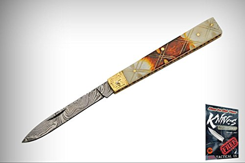 DOCTOR Elite Folding Knife Damascus Steel Blade Stag Bone Handle + free eBook by (Stag Doctors Knife)