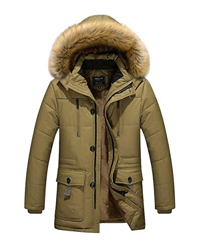 Jacket Giacca Uomo Con Esterno Coat Parka Cappuccio Windproof Ragazzo Khaki Winter Da Pilot ZZ0wAFq