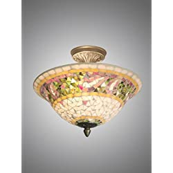 Dale Tiffany 8780/3LTF Bradshaw Mosaic Flush Mount Light, Antique Brass and Art Glass Shade