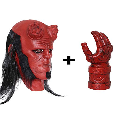 Hellboy Head Mask with Hair Halloween Props Horror Party Cosplay with One Gauntlet Glove Red ()