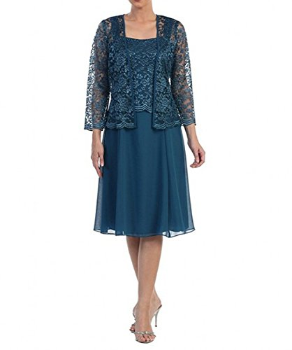 The Dress Chiffon Lace Two Mother Amore Bridal Dress Bridal Bride Piece Teal of Evening Party Formal q60xwCFB