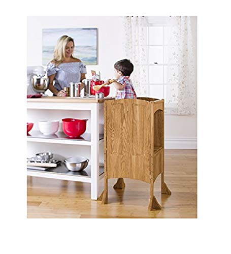 Guidecraft Heartwood Kitchen Helper Stool - Solid Oak: Premium Solid Wood, Adjustable Height, Foldable Cooking Step Stool Tower for Little Kids - Toddler Learning Furniture - Limited Edition