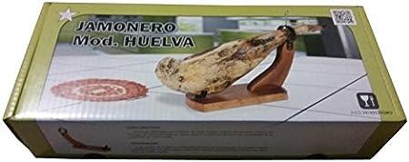 Buarfe-Soporte Jamonero Huelva lacado nogal con cuchillo