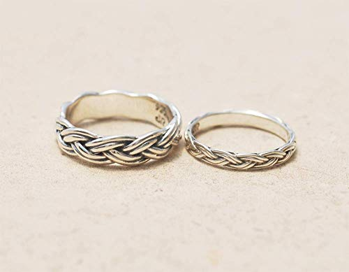 Onyx Wide Band Ring - Handmade Unique 925 Sterling Silver Braided Meaningful Matching Wedding Band Rings Set For couples His and Hers Women Men