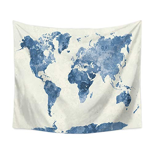Yinrunx Watercolor World Map Tapestry Abstract Art Painting Wall Hanging Tapestry