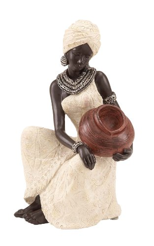 (Deco 79 Benzara 44694 Table Top Polystone African Figure Sculpture )
