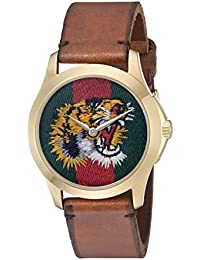 Quartz Gold and Leather Casual Two-Tone Mens Watch(Model: YA126497)