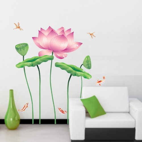 Kappier Large Lotus Flowers in Tranquil Koi Pond Peel & Stick Wall (Asian Wall Decals)