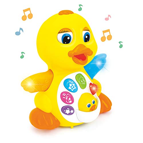 Zoostliss Dancing Walking Yellow Duck Baby Toy with Music and LED Light Up for Infants, Toddler Interactive Learning Development, School Classroom Prize and Children
