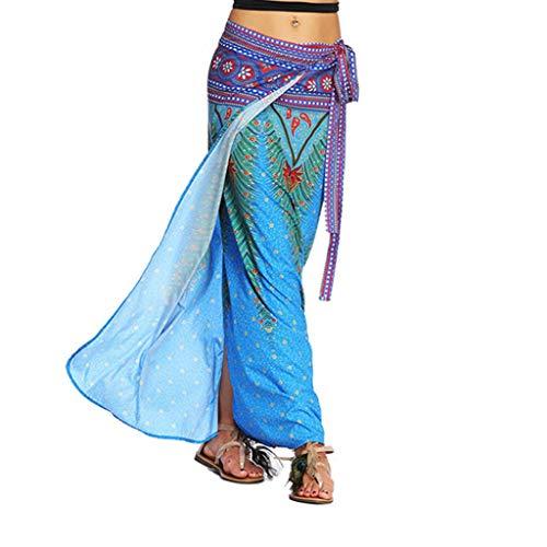Sixcup Femmes Jupe Portefeuille Jupe Maxi Indienne avec Ceinture Tour de Taille Elastique Casual Boho Chic Rtro Jupe Aladdin Harem Jupe Bleu Ciel