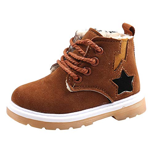 Jump Boots Steel Toe (Amaping Baby Boys Girls Martin Snow Boots Kids Winter Thicken Flock Warm Casual Shoes (21, Brown))