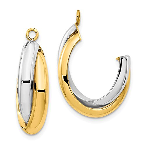14k Two Tone Yellow Gold Double J Hoop Earrings Ear Hoops Set Jacket Jackets Studs Fine Jewelry Gifts For Women For Her