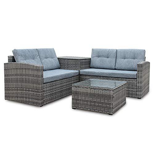 Amazon.com: onbang - Juego de 4 sofás de patio con cojines ...