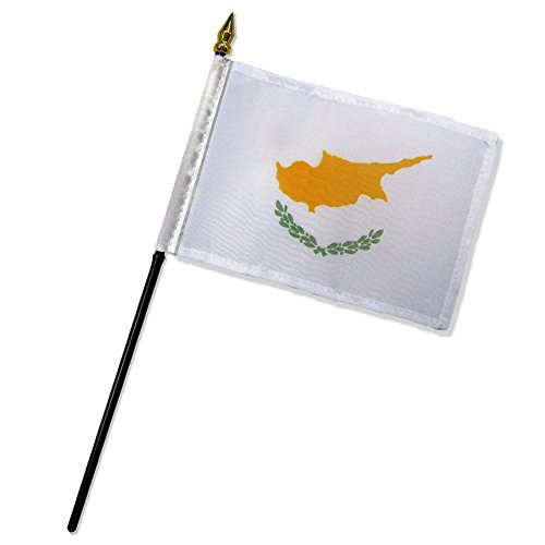 ALBATROS (6 Pack) Cyprus 4 inch x 6 inch with Stick for Desk Table Flag for Home and Parades, Official Party, All Weather Indoors Outdoors