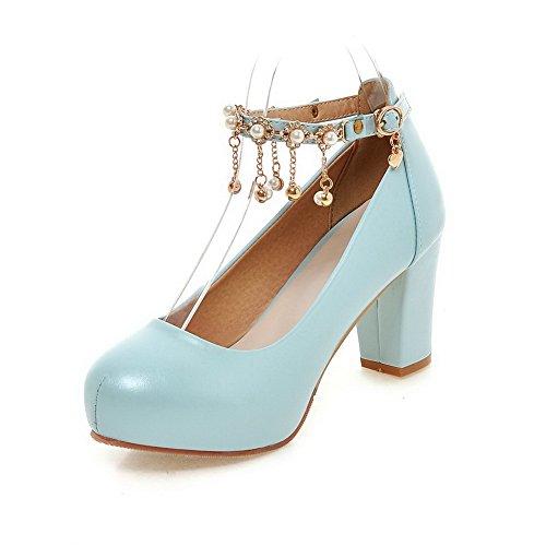 AllhqFashion Damen Eingelegt PU Leder Hoher Absatz Rund Zehe Schnalle Pumps Schuhe Blau