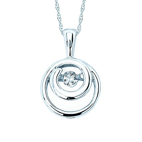 Boston Bay Diamonds 925 Sterling Silver Dancing Diamond Double Circle Pendant Necklace, 18