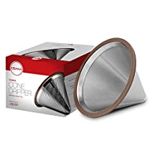 Osaka Stainless Steel Pour Over Coffee Dripper with Double Layered Filter, Paperless and Reusable Cone Shaped Filter for Osaka, Chemex, Hario, Bodum and Other Carafes