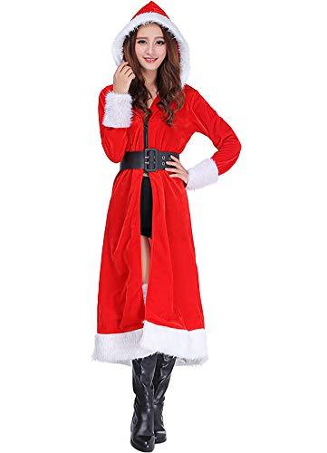 Christmas Costume Mrs Santa Claus Cloak Velvet Hooded Cape Fancy Dress with Belt -