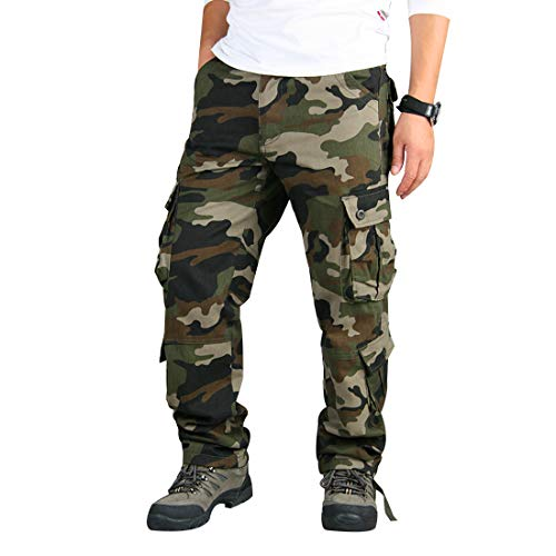 zeetoo Mens Relaxed-Fit Cargo Pants Multi Pocket Military Camo Combat Work Pants GZ03 Green Camo