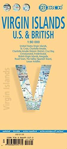 Laminated Virgin Islands Us British Map By Borch English - Map-us-virgin-islands-and-british-virgin-islands