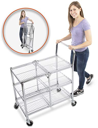 Original Tubstr - Collapsible Wire Cart | 3 Shelf Wire Utility Cart Provides Convenient Transport, Holds 300 Pounds, and Folds Up for Storage! Commercial Grade