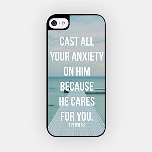 for iPhone 8 TPU Plastic Case - Cast All Your Anxiety On Him, Because He Cares For You - 1 Peter 5:7 - Bible Quote - Inspirational Quote