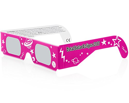 Solar Eclipse Glasses CE and ISO Certified - Safe Solar Viewing - Viewer and Filter - Made in USA - Neon Pink (3 - Is Ray Phone Ray Number What
