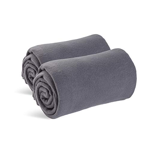 (World's Best Cozy-Soft Microfleece Travel Blanket, 50 x 60 Inch, Charcoal, Great for Travel or Lounging at Home)