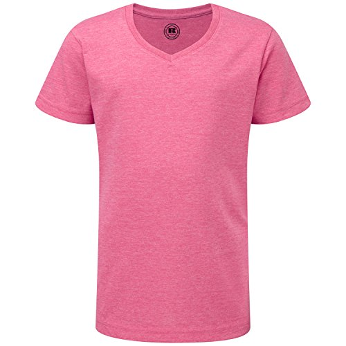 - Russell Girls V-Neck Short Sleeved T-Shir - Pink Marl - 5-6 Years/25-28 inches
