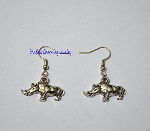 Rhinoceros Earrings - Rhino Dangle Earrings (Rhino Earrings)