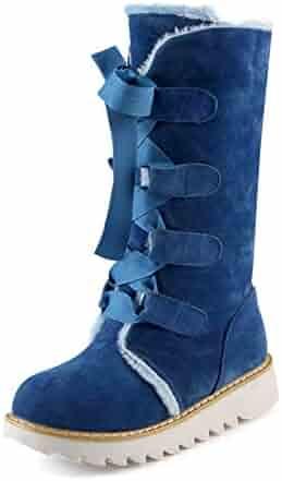 78bb909324 JOYBI Women Fur Lined Mid Calf Boot Lace Up Warm Flat Heel Comfortable  Winter Round Toe