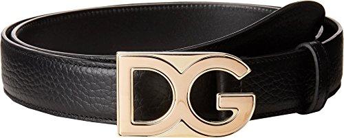 Dolce & Gabbana Men's Logo Buckle Dress Belt Brown (Gabbana Designer Belts)