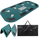"""Smartxchoices Foldable Poker Table Top 8 Player 71""""x 35"""" Poker Topper Cover Mat w/Chips Tray Cup Holders Carry Case for Texas Hold'em Casino Home Cards Game Nights Oval"""