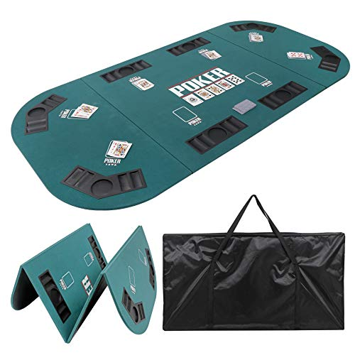 "Smartxchoices Foldable Poker Table Top 8 Player 71""x 35"" Poker Topper Cover Mat w/Chips Tray Cup Holders Carry Case for Texas Hold"