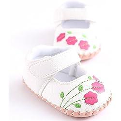 Meckior Infant Baby Girls Sandas Summer Soft Leather No-slip Princess Shoes (6-12months, white 1)