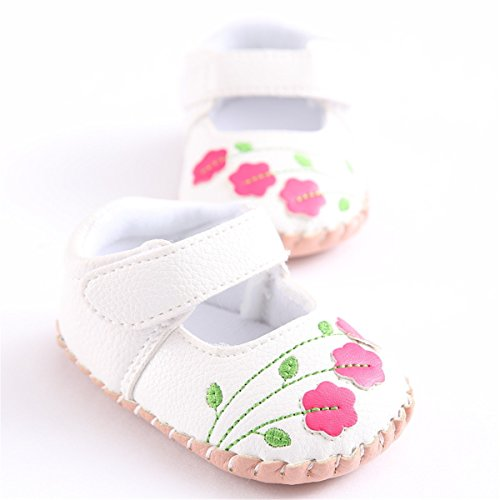 Meckior Infant Baby Girls Sandas Summer Soft Leather No-Slip Princess Shoes (6-12 Months, White ()