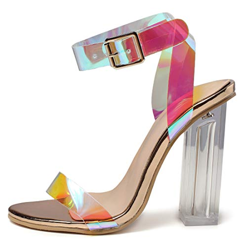 Women's High Heel Platform Dress Pump Sandals Ankle Strap Block Chunky Heels Party Shoes - Holographic Red 10