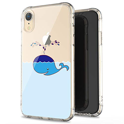 (JAHOLAN Compatible iPhone XR Case Clear Cute Amusing Whimsical Design Blue Whale Flexible Bumper TPU Soft Rubber Silicone Cover Phone Case for iPhone XR 2018 6.1 inch)