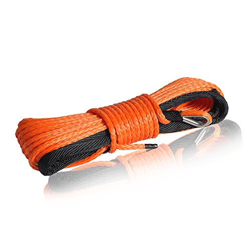 (QIQU Winch Rope 3/16 inch Synthetic Winch Rope for Electronic Winch on ATV/UTV/Snowmobile with Sleeve and Thimble (3/16''x50feet, Orange))