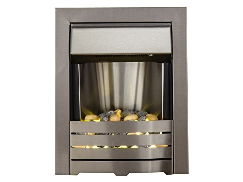 The Adam Helios Brushed Steel Electric Fire with Pebble Bed Glow Effect