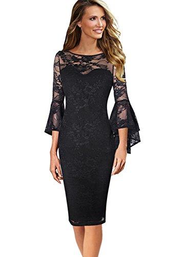 VfEmage Womens Elegant Bell Sleeve Wear to Work Party Cocktail Sheath Dress 9178 BLK ()